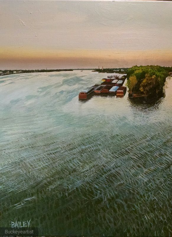 """""""On the Ohio"""" by Brian Bailey,Oil on canvas, 18x24in, 2016, POR"""