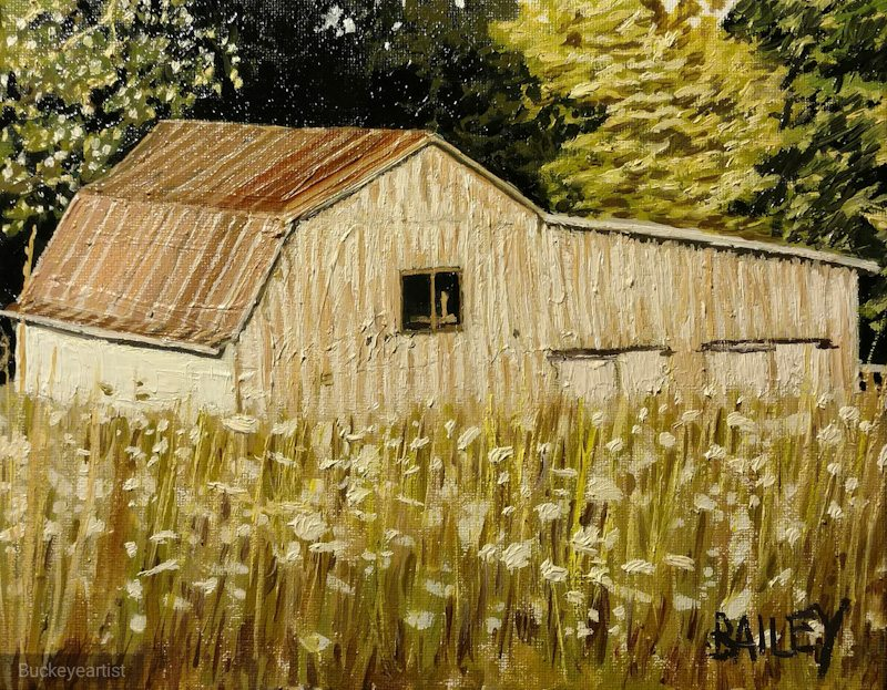 """""""Barn at Sunset"""" by Brian Bailey,Oil on canvas, 8x10in, 2018, POR"""