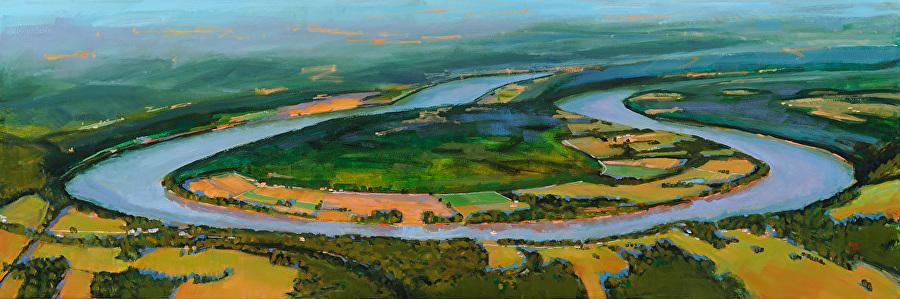 """""""Horse Shoe Bend"""" by Lynn Dunbar, Oil on canvas, 24x72in, POR"""