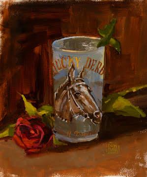 """""""1964 Derby Glass"""" by Lynn Dunbar, Oil on canvas, 12x8in, 2017, POR"""