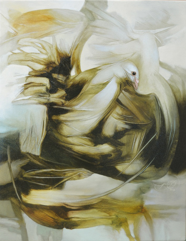 """""""Infinity Wings"""" by Julio Cesar Rodriguez,Oil on canvas, 18X14in,2017, POR"""