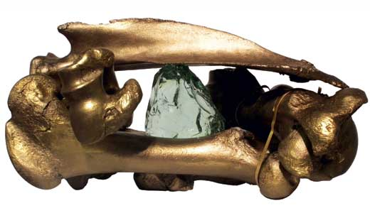 """Ancient Reliquary"" by Ewing-Fahey, Gilded cattle bones and glass, 2011"