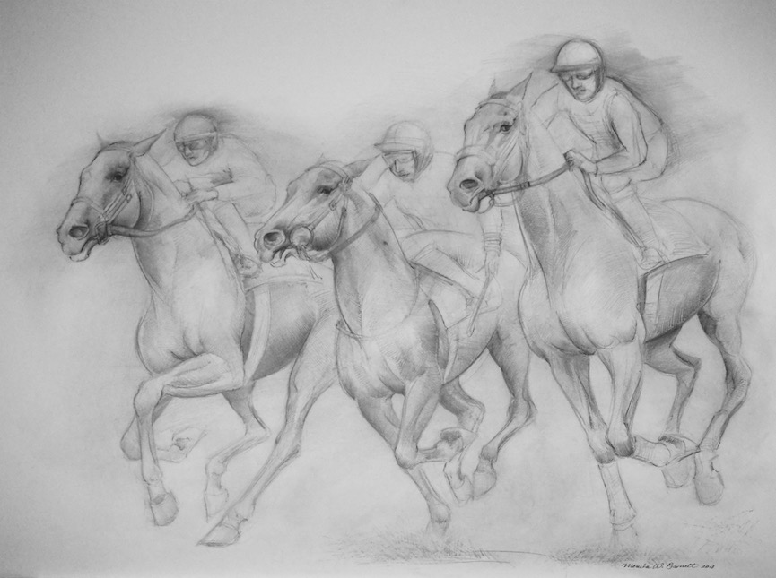 """Derby Run"" by Monica Barnett, Graphite, 40x30in, 2018, $750.00"