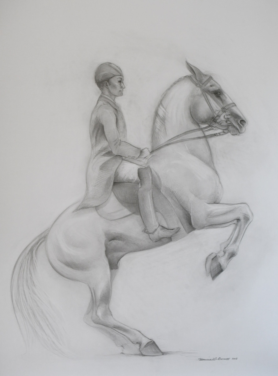 """Lippizaner"" by Monica Barnett, Graphite, 30x40in, 2018, $750.00"