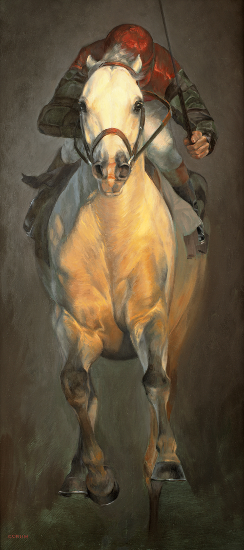 """Ghost in the Darkness"" by Jaime Corum,  oil on wood panel"