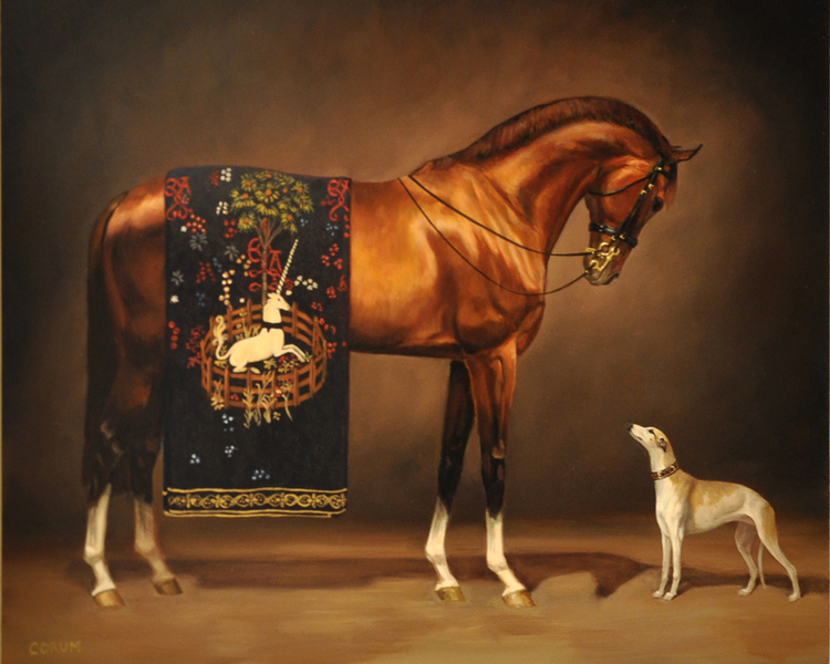 """Her Treasures"" by Jaime Corum, oil on gessoboard"