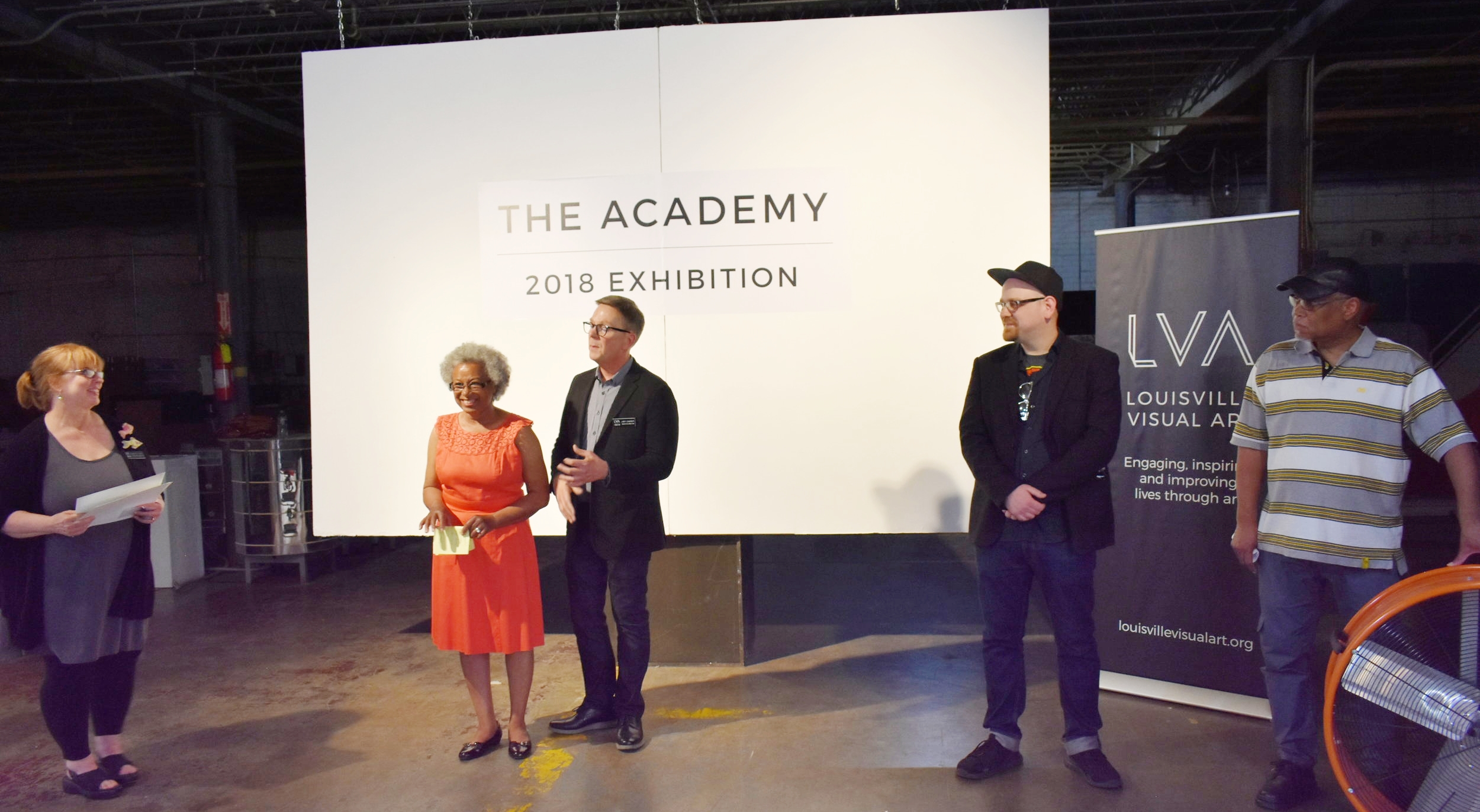 LVA's CFAC & Academy Director Annette Cable, Wilma Bethel, LVA Executive Director Lindy Casebier, Andrew Preston, and William Duffy presented awards to Academy graduates.