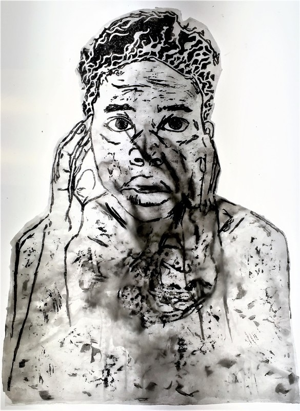 """""""inside Out"""" by Brianna Harlan, Printmaking: Relief and Mono-type, Clear Wax,12x15in"""