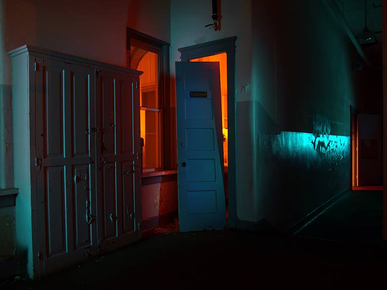 """Montgomery Street School (Men's Room)"" by Zed Saeed, (Light painting photography), Photo: 20""x30"". Frame: 32""x42"". Metallic Print, $750"
