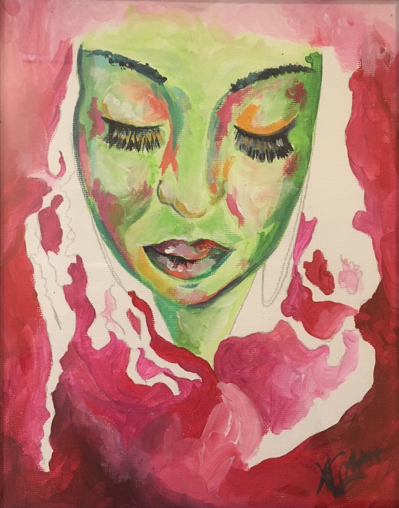 """""""Kaila"""" by Ashley Cathey,Acrylic, graphite on canvas board, 9x12in, NFS"""