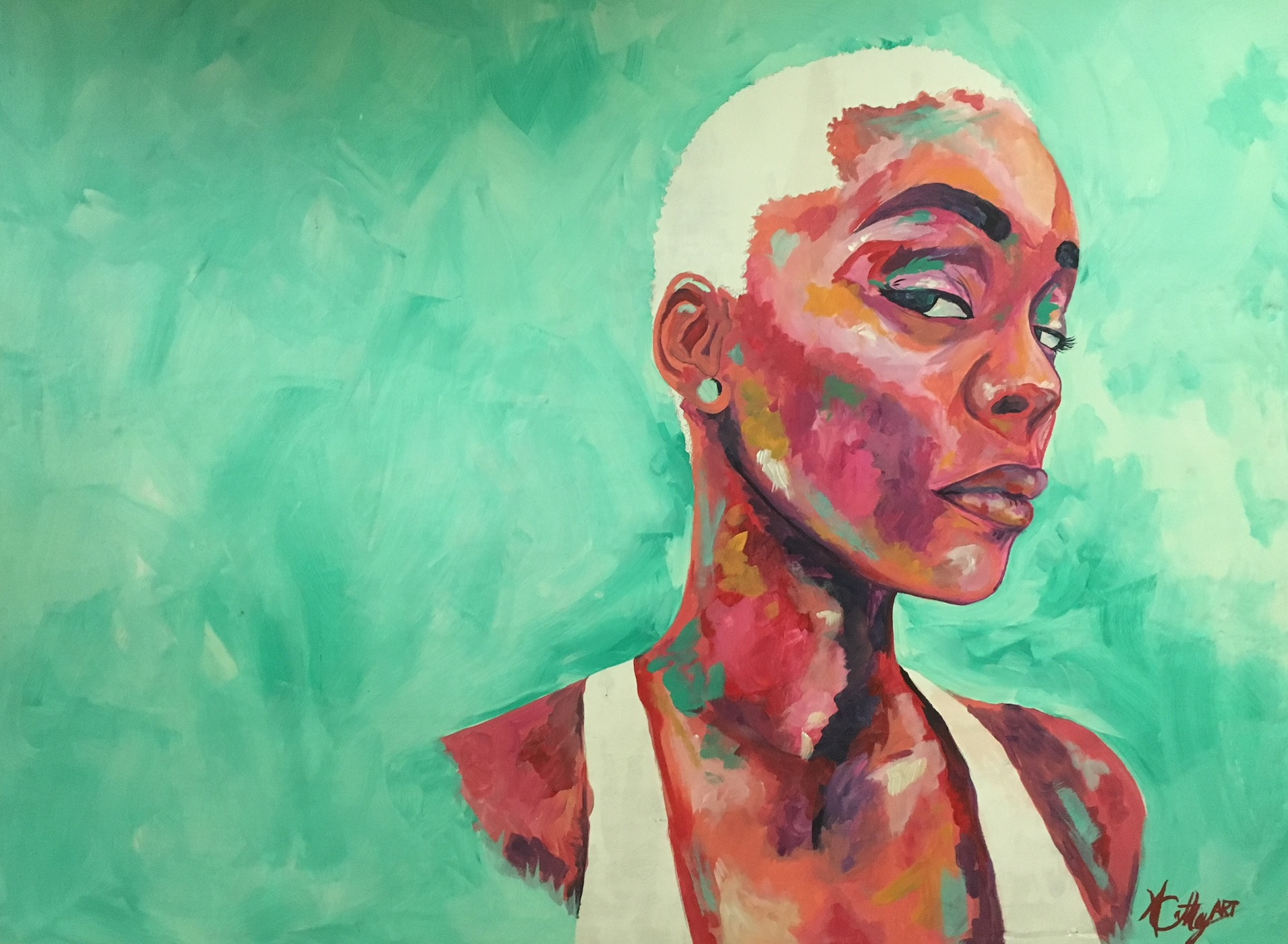 """""""Lakeishia"""" by Ashley Cathey,Acrylic and graphite on up-cycled plywood panel, 36x40in,$750"""