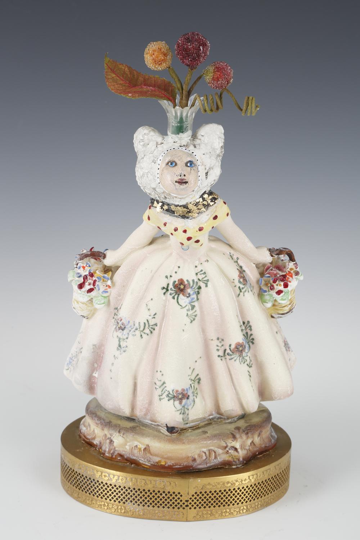 """""""Amelia"""" by Gayle Cerlan,Clay, glaze, paint, found objects,10x6x6.4,5in, 2018, $850"""