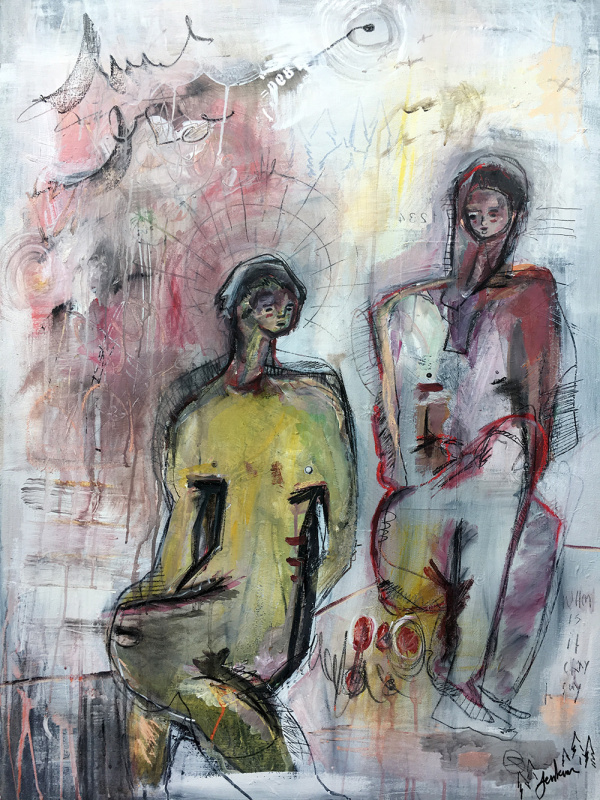 """""""Two Nude Figures Reflect On Life Together"""" by Joshua Jenkins,Acrylic, collage, and mixed on canvas,40x30x1.5 in. 2018, POR"""