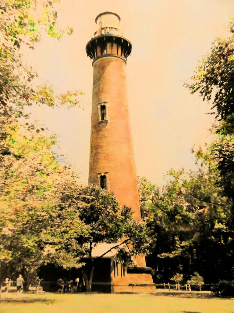 """""""Currituck Lighthouse,Corolla, NC"""" by Judy Rosati,Hand colored silver gelatin photograph,16x20in matted & framed, 2016, $125"""