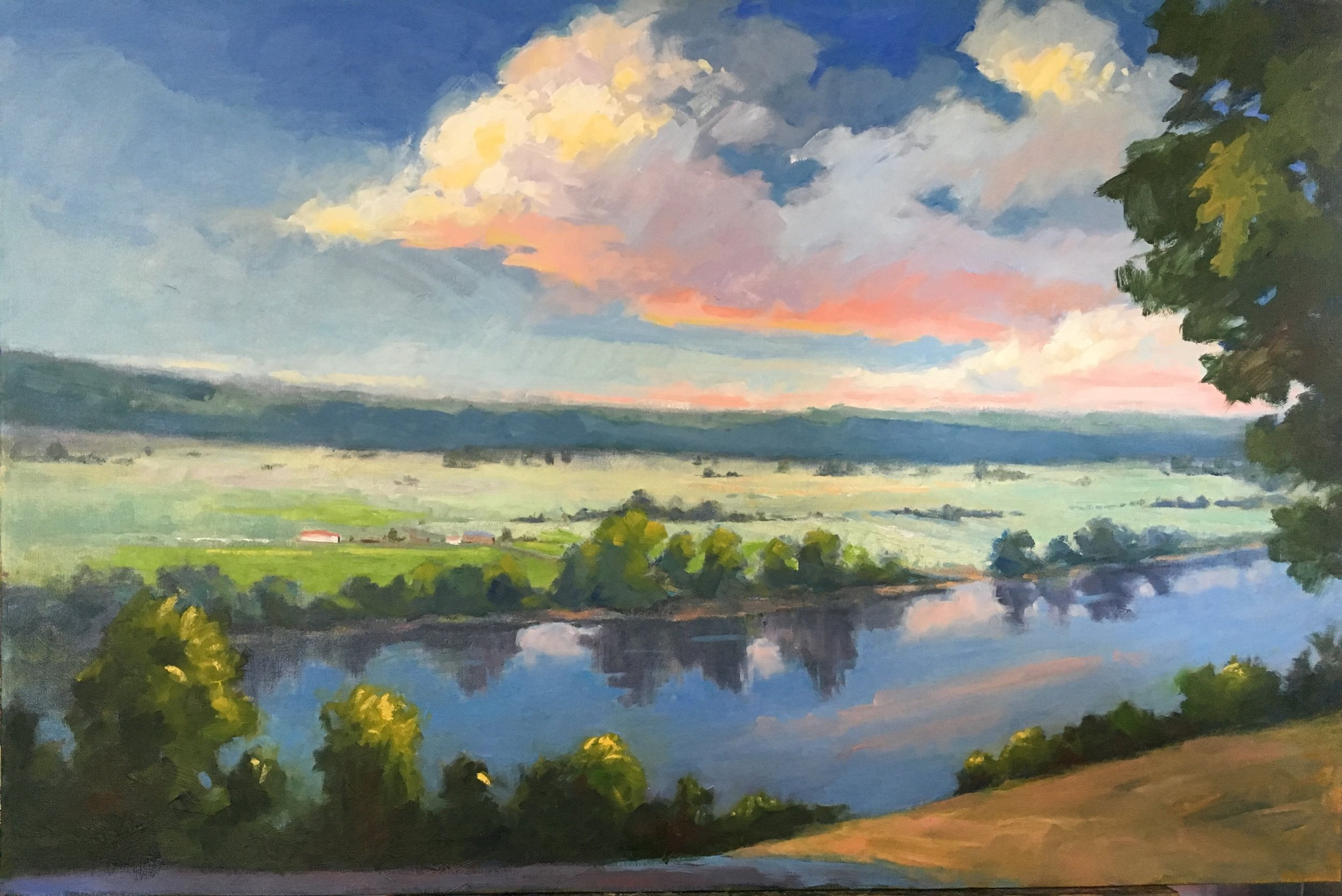 """Peaceful Morning"" by Catherine Bryant, Oil on canvas, 24x36in, 2018, $2150"