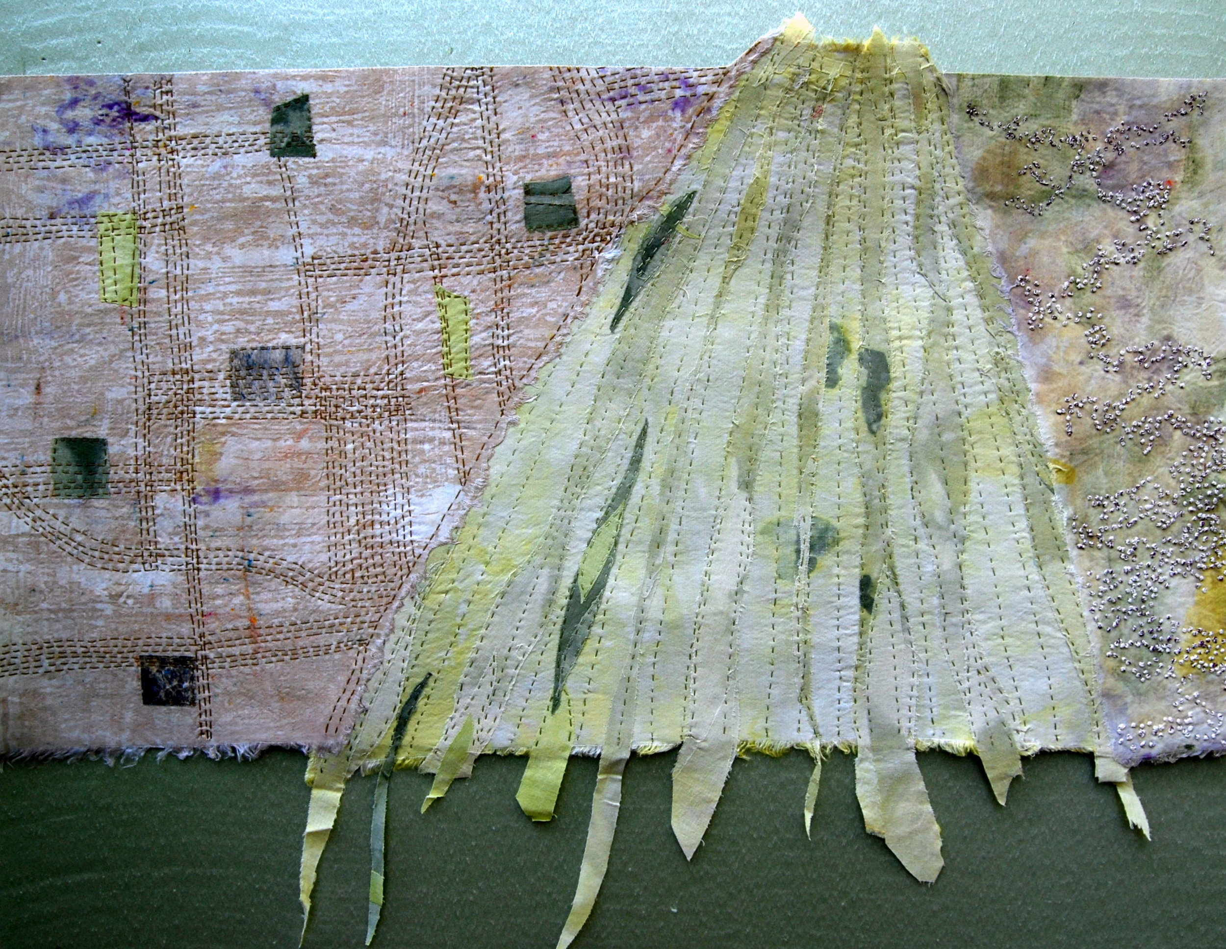 """Clover by the Salt River"" by Joanne Weis, Textile - Hemp, Hand Dyed, printed, appliqued and stitched, 40x22in, 2018, $400"