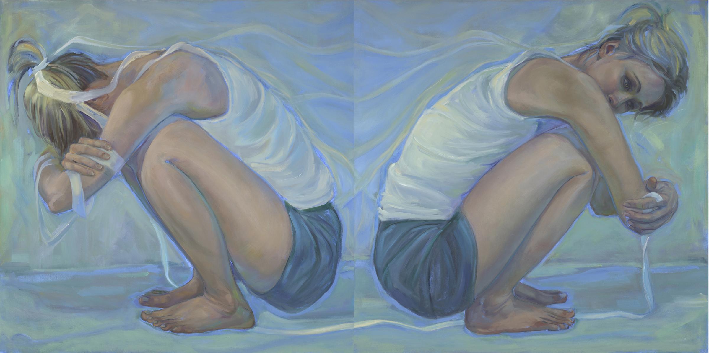 """""""Breaking the Ties That Bind"""" by Debra Lott, Oil on Canvas, 36x72in diptych, 2018"""