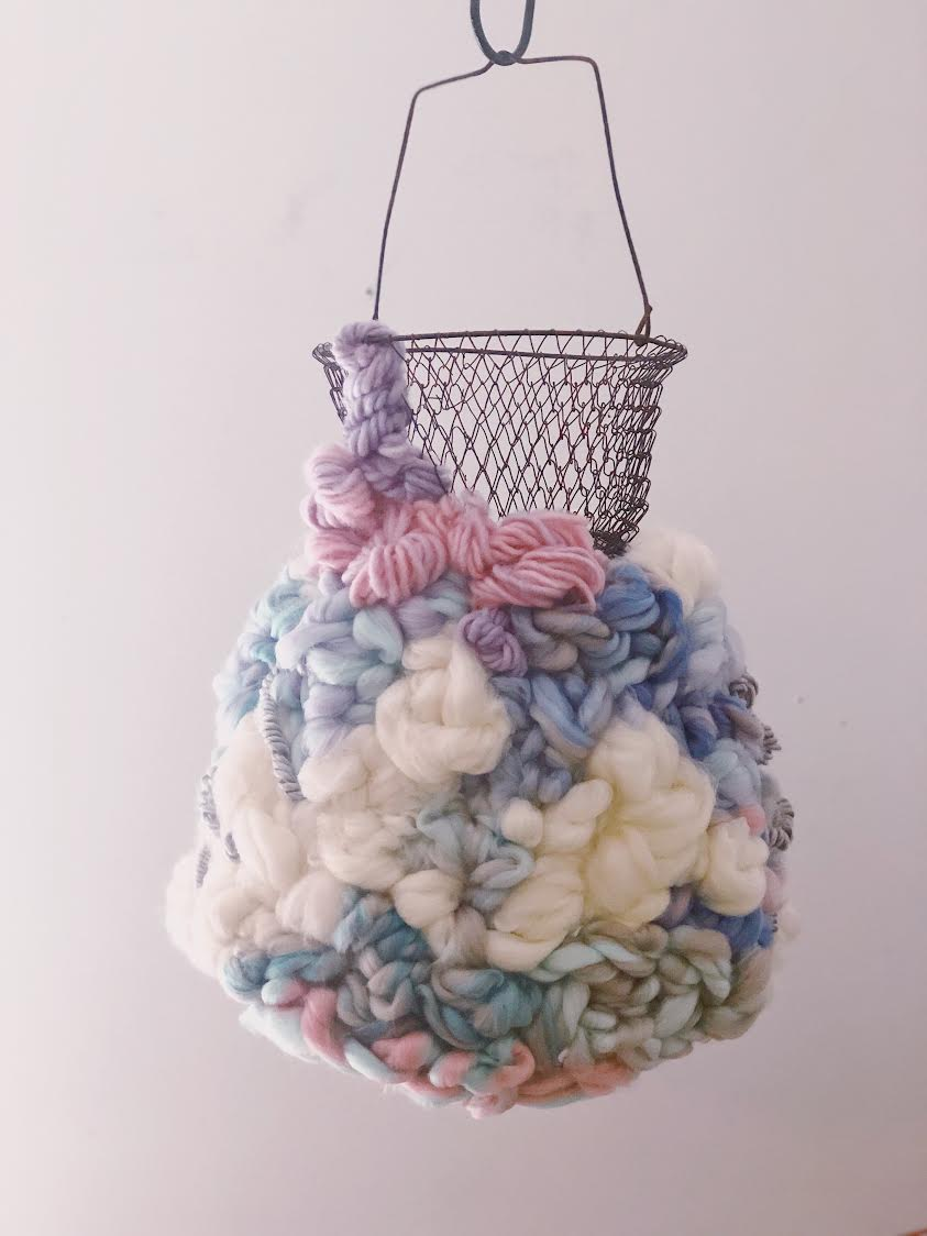 """Starships"" by Stephanie Tanner, Wool, antique fish basket, 24x18in, 2018, $300"