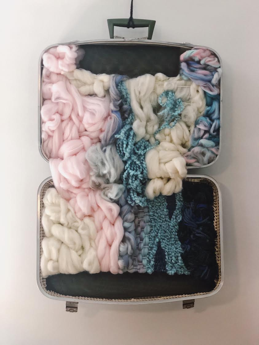 """Nowhere to Keep This"" by Stephanie Tanner, Wool, vintage suitcase, 26x20in, 2018, $425"