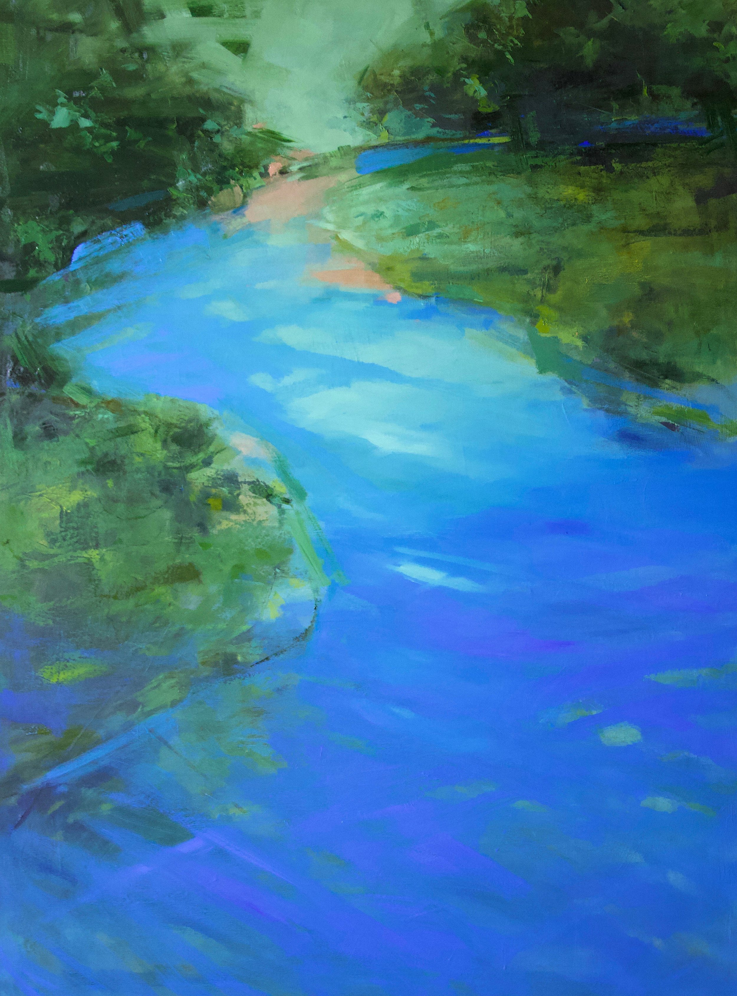 """""""Blue River"""" by Ewa Perz, Oil on canvas, 48x36in, 2018, $2900"""