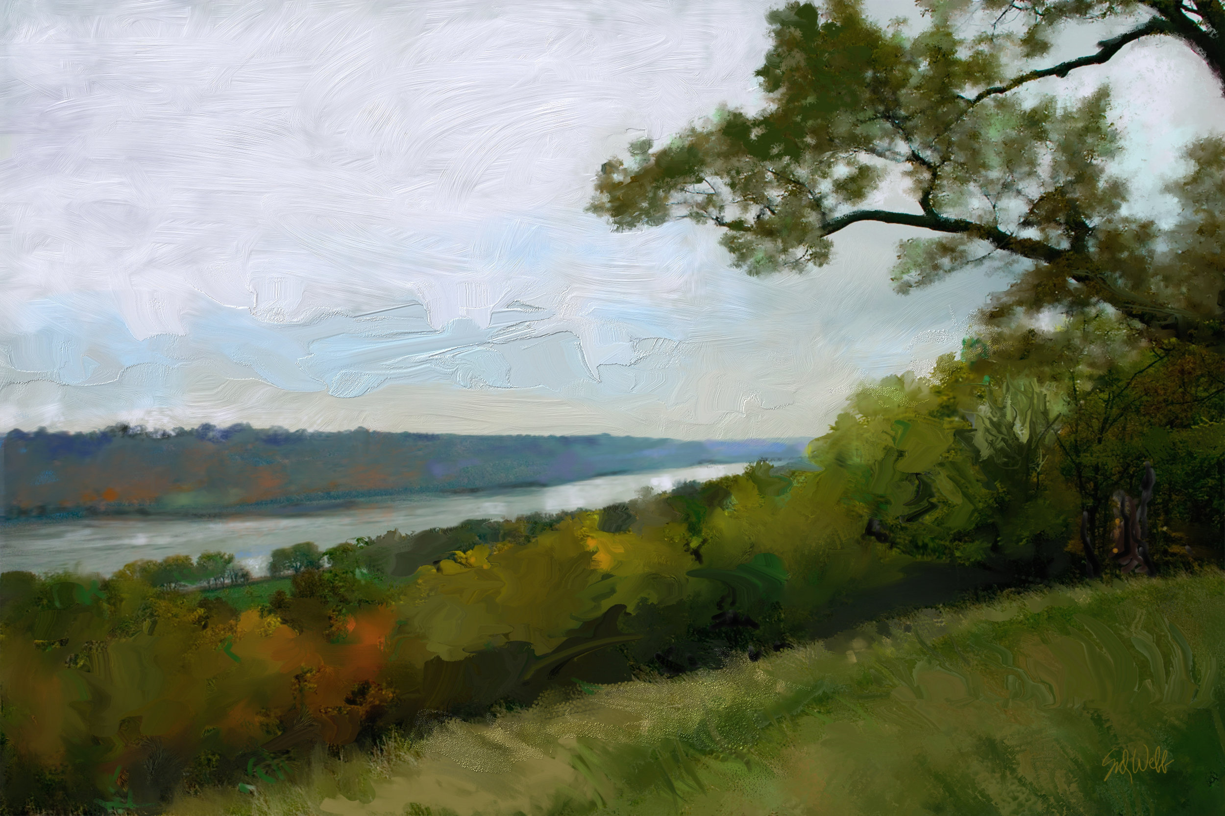 """Ohio River"" by Sid Webb, Print, mixed media, 12x18in, 2018, $125"