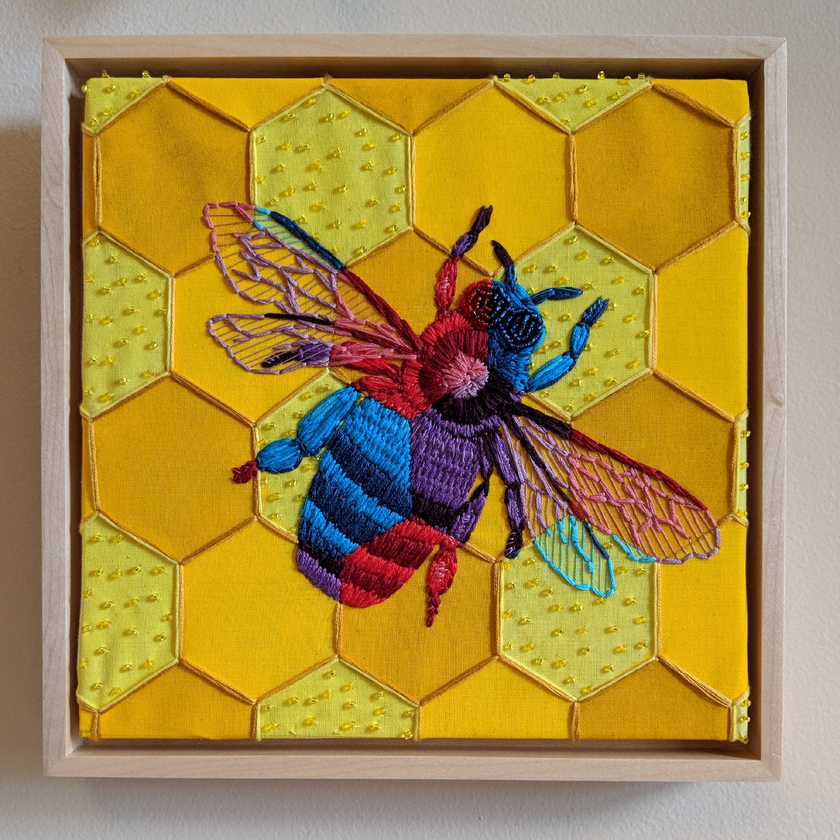 """Honeycomb Bee"" by Jesi Evans, Mixed media embroidery, 8x8in, 2018, $500"