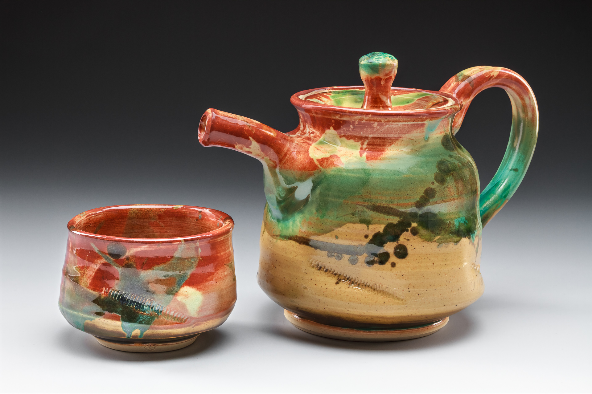 """Mountain Tea Set"", by Lisa Kurtz, Stoneware, thrown and altered, Teapot: 7x9.5x5.5in, Teabowl: 2.75x4x4in, SOLD"