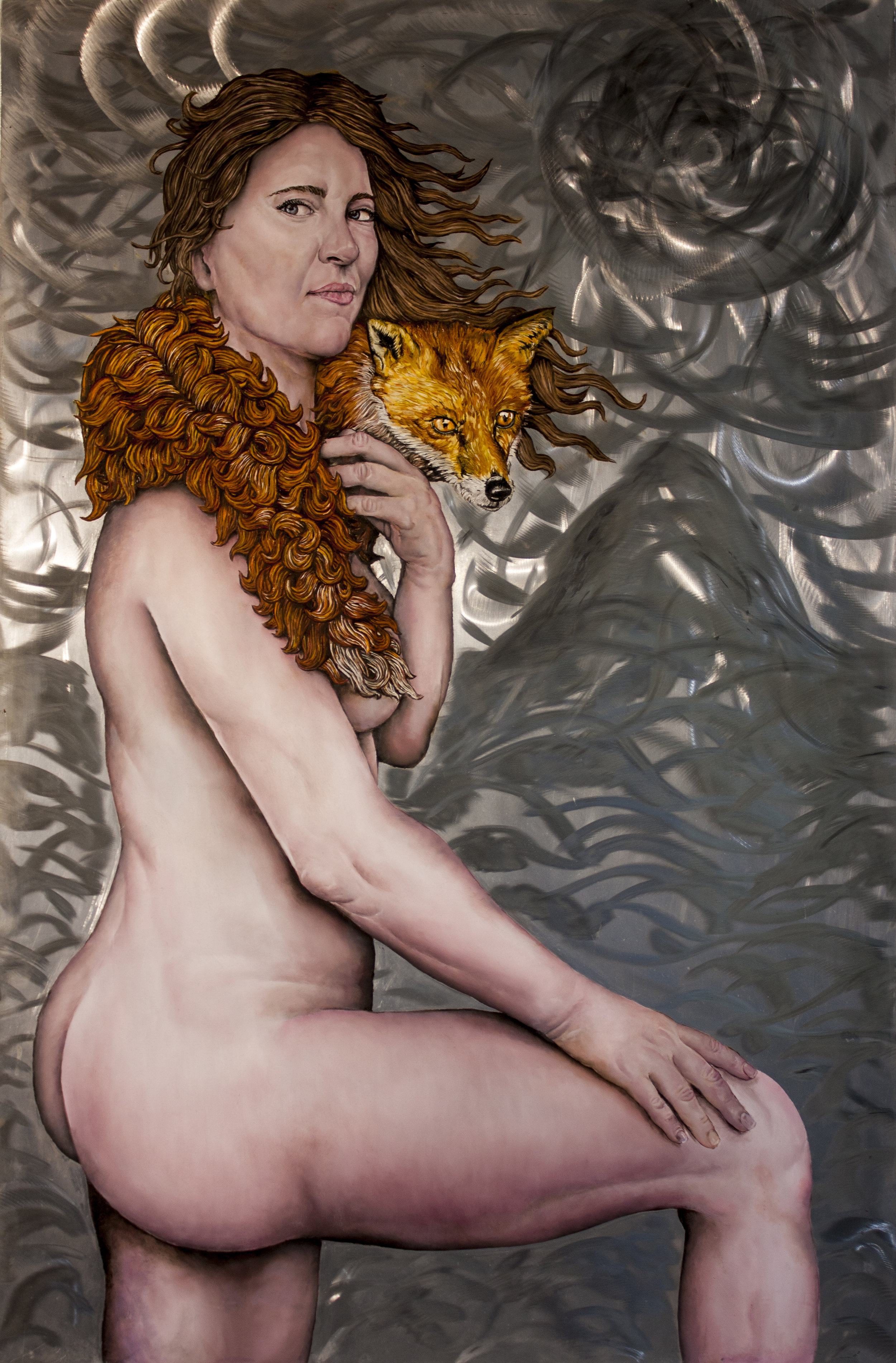 """""""Woman with Fox"""" by James Russell May, Oil on aluminum, 36x24in,2018, $4500."""