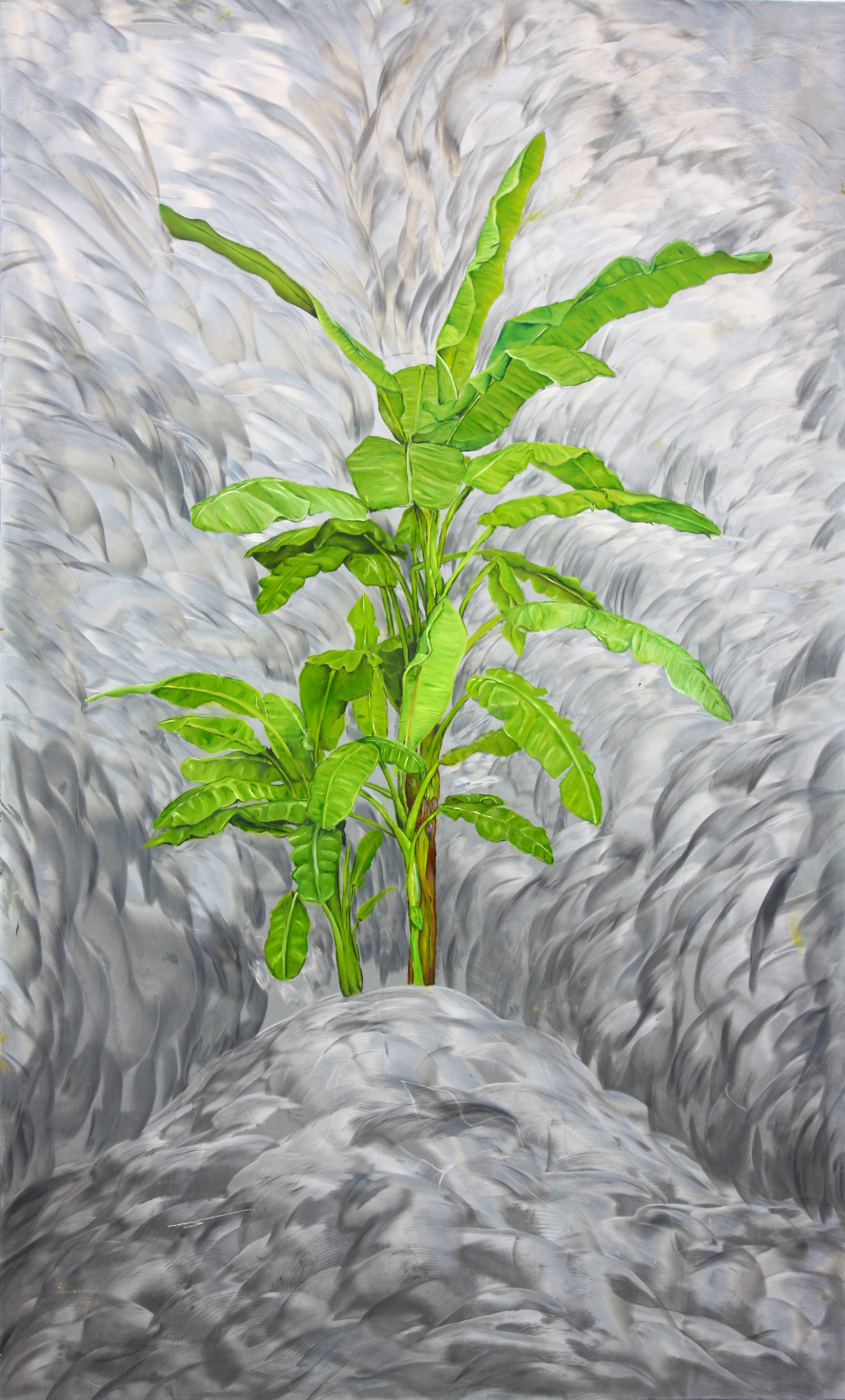 """""""Banana Tree"""" by James Russell May, Oil on aluminum, 40x25in, 2017, $3000."""
