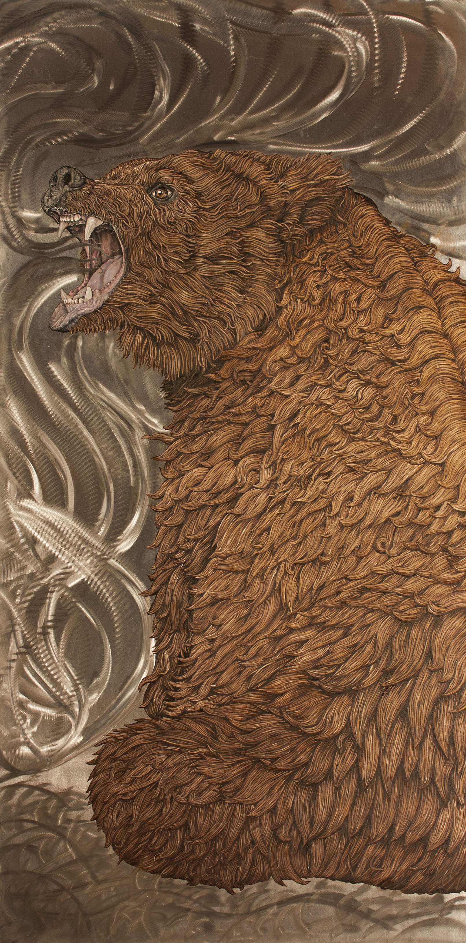 """""""Bear II"""" by James Russell May, Oil on aluminum, 48x24in, $5500"""