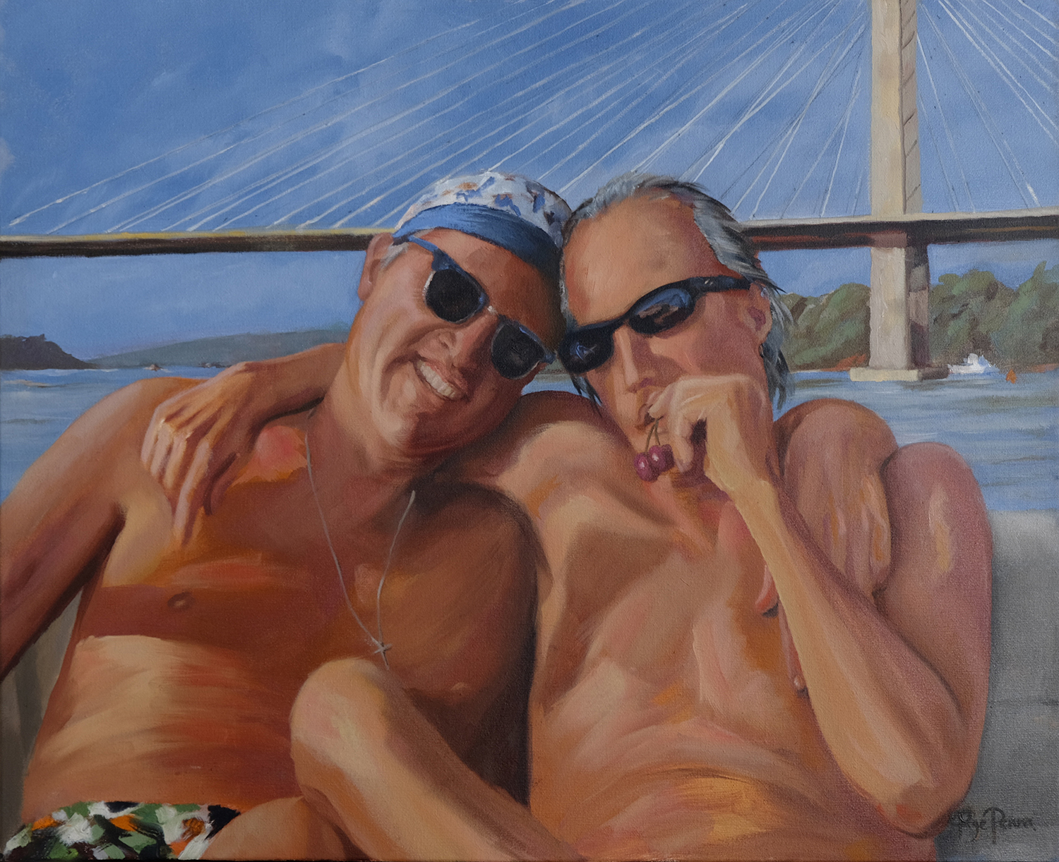 """Burleigh & Johnny"" by Page Penna, Oil on linen, 16x20in, 2017, Private collection."