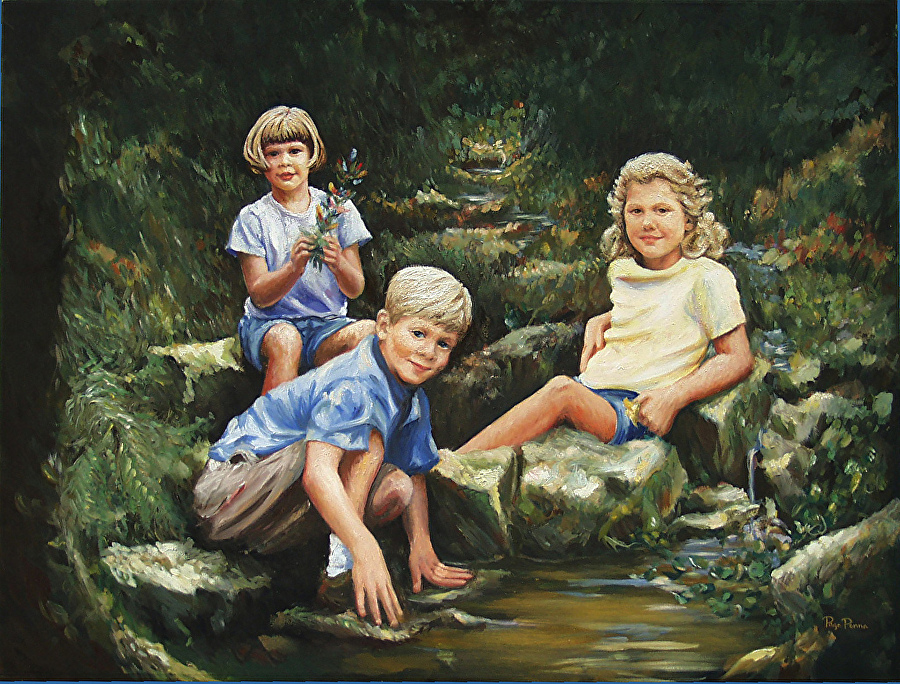"""Veith Children"" by Page Penna, Oil on linen, Private collection."