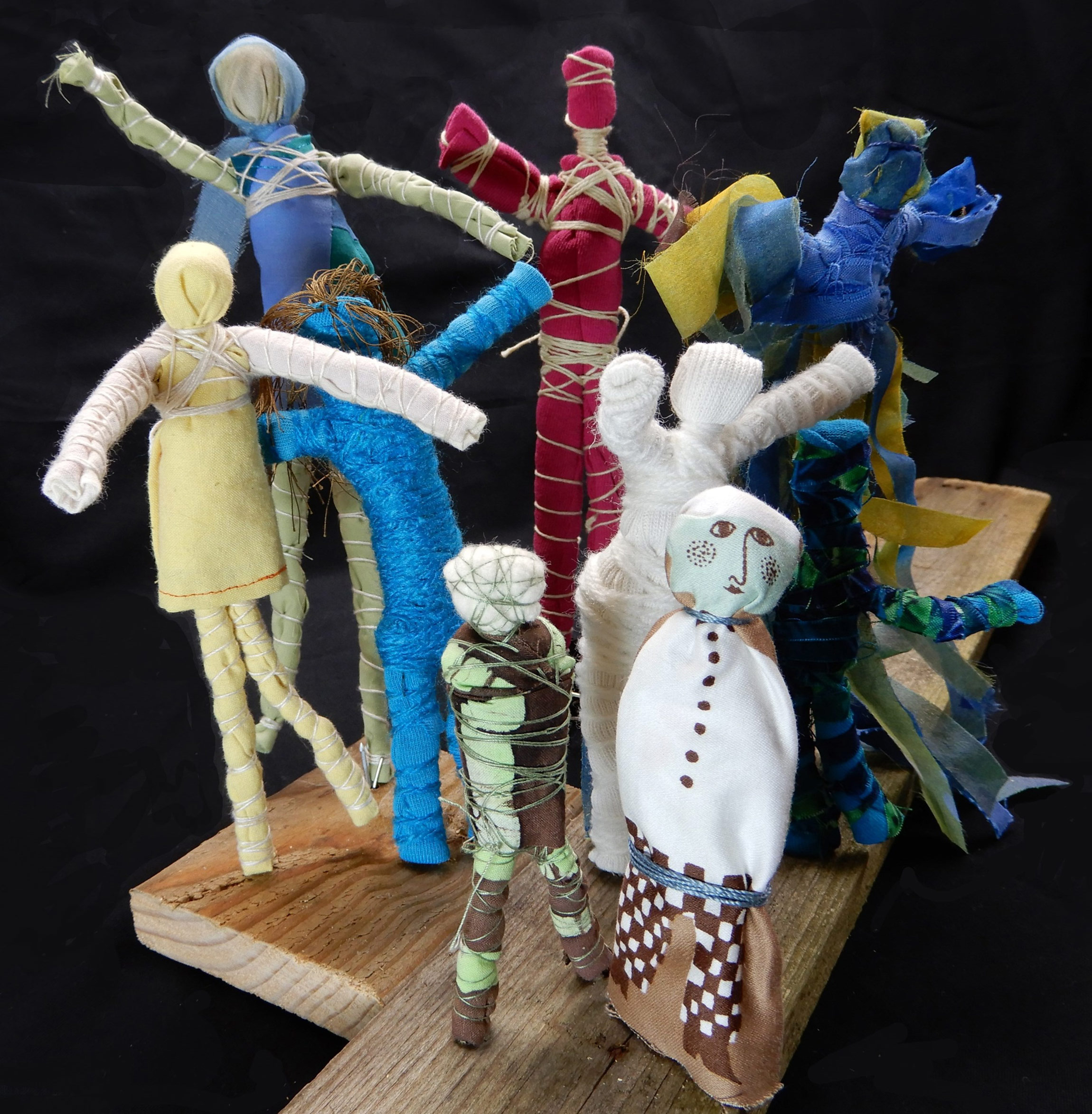 """Daily People"" by Kathleen Loomis, Fabric, Individual figures 3 to 10in tall, 2017, $20 each on wood base"