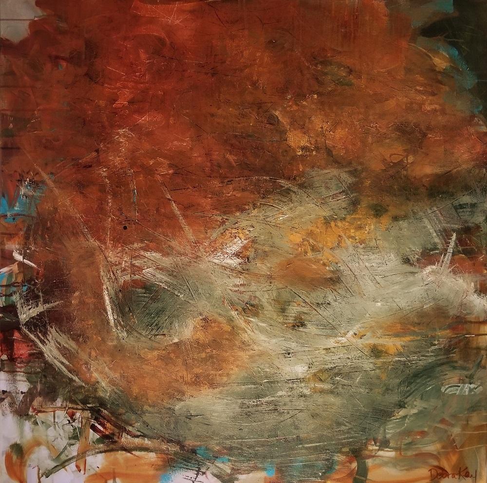 """St.Nicholas Beach"" by Debra Kay Guess, Acrylic on canvas, 36x36in, 2018, $1300"