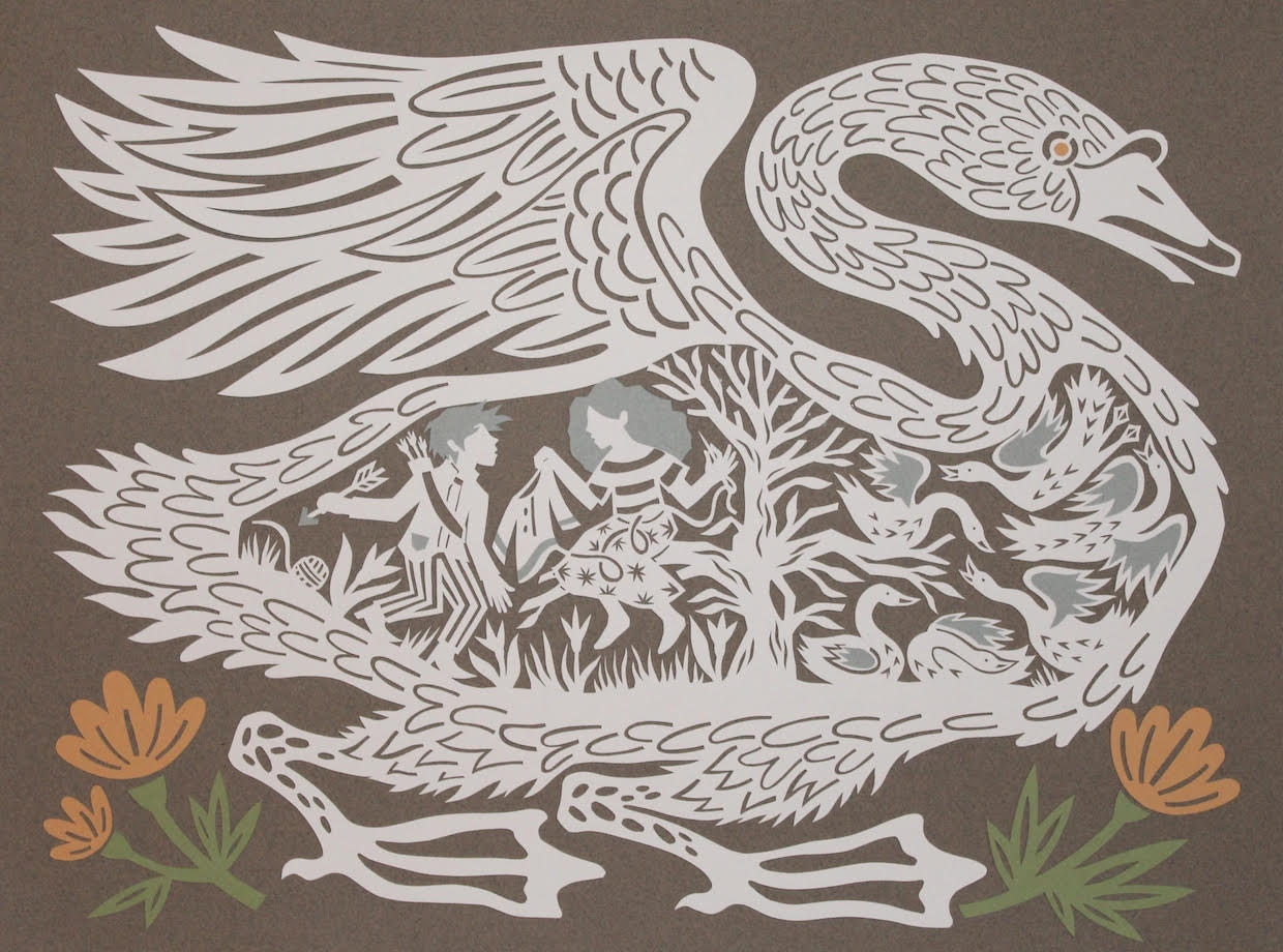 """""""The Six Swans"""" by Monica Stewart,, Cut paper 15 1/2 x 11 1/2 inches, 2017"""