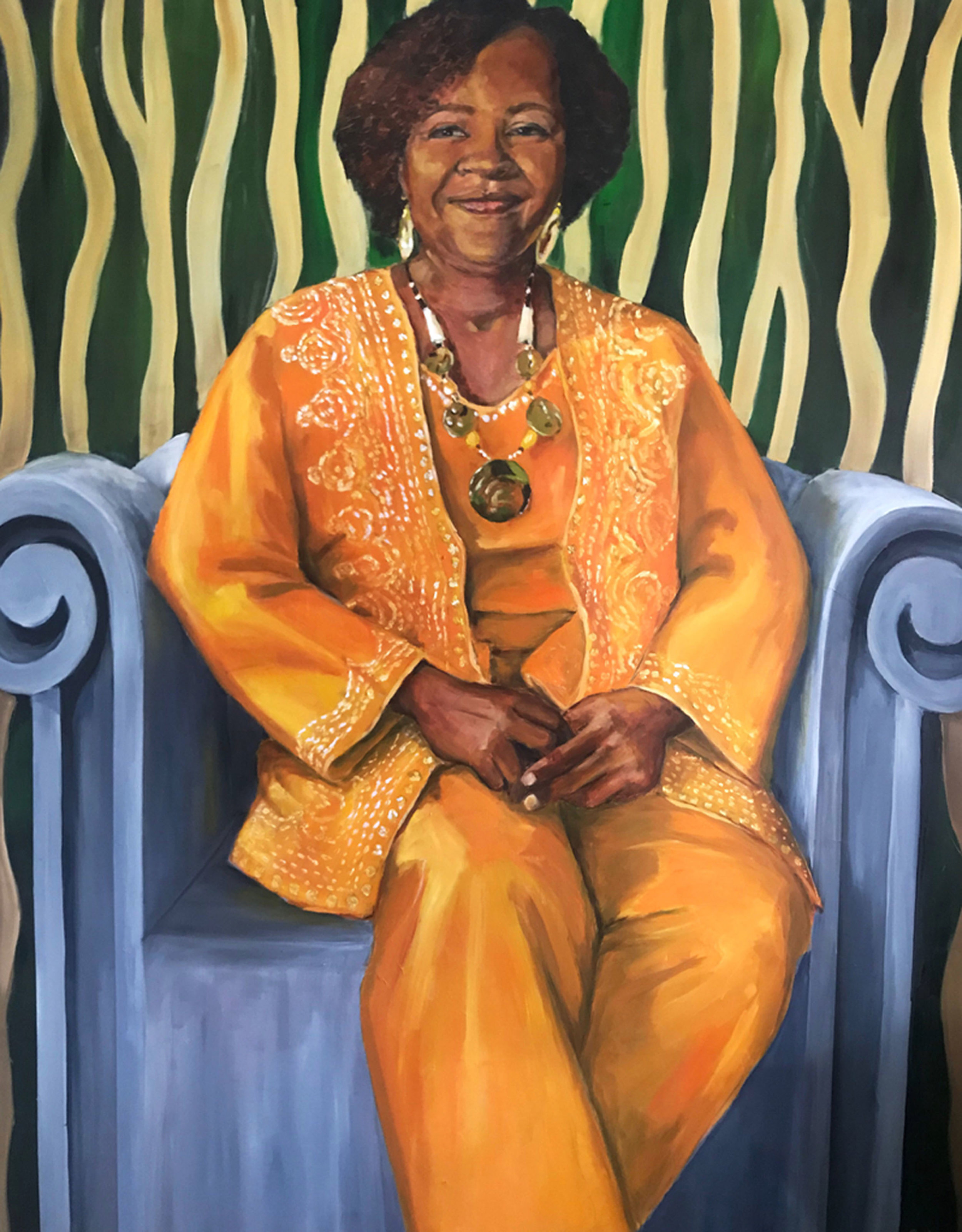"""""""Living Monument, Angela Hollingsworth"""" by Sandra Charles, Oil on canvas, 48x60in, 2019, $4750"""