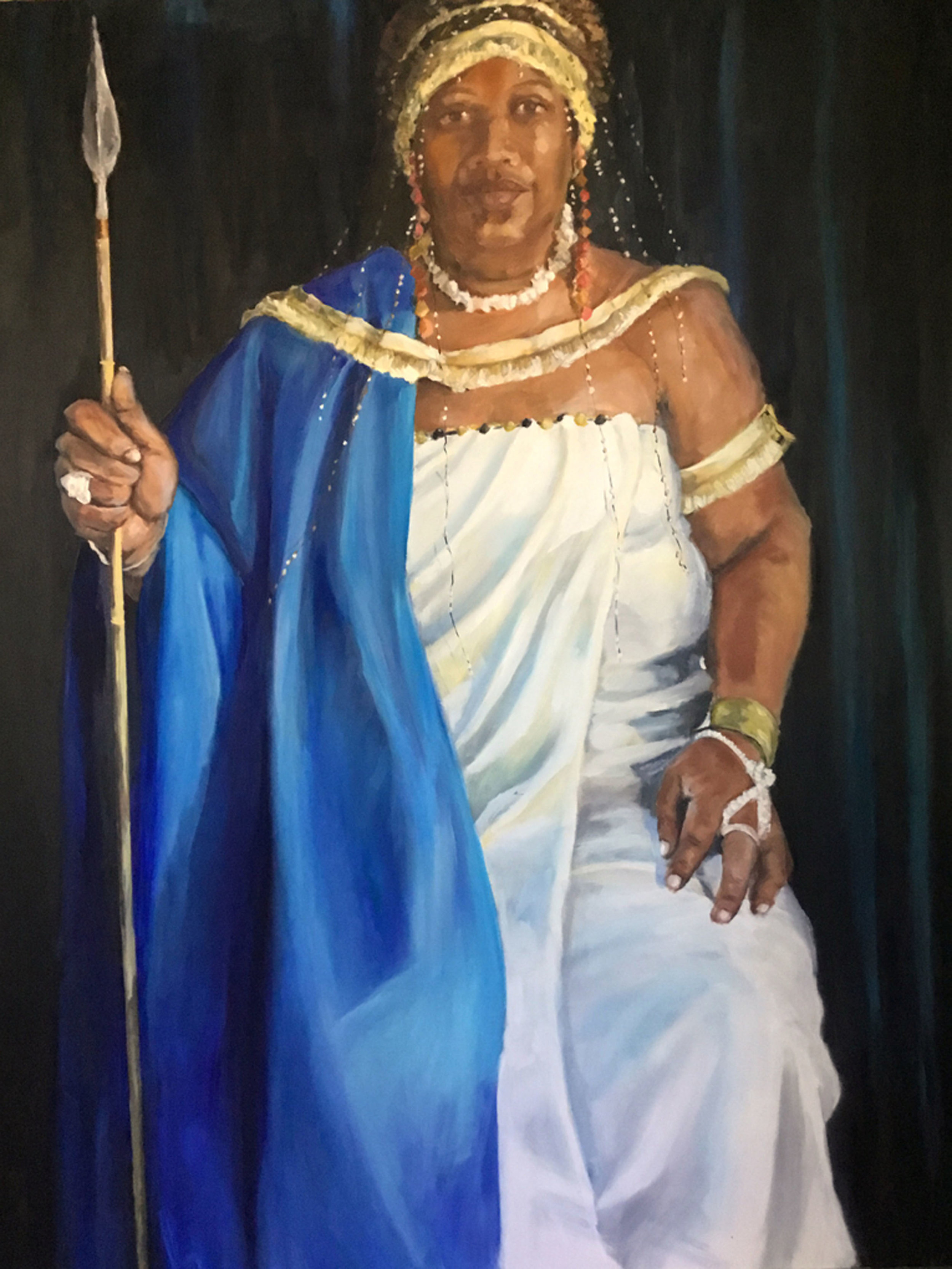 """""""Cynthia as Queen of Ethopia"""" by Sandra Charles, Oil on canvas, 48x60in 2016, NFS"""
