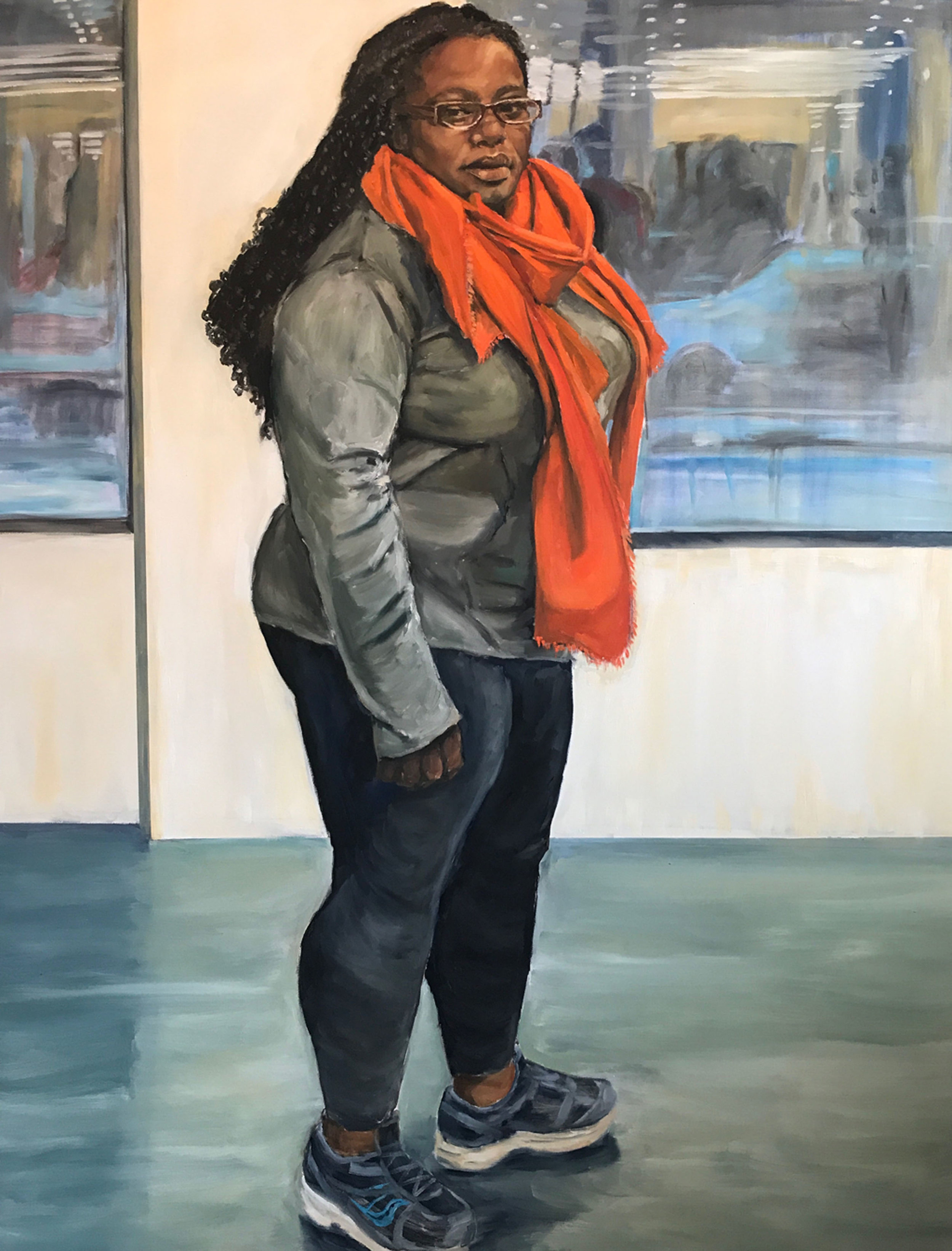 """""""Refections of Us"""" by Sandra Charles, Oil on canvas, 48x60in, 2018, $4750"""