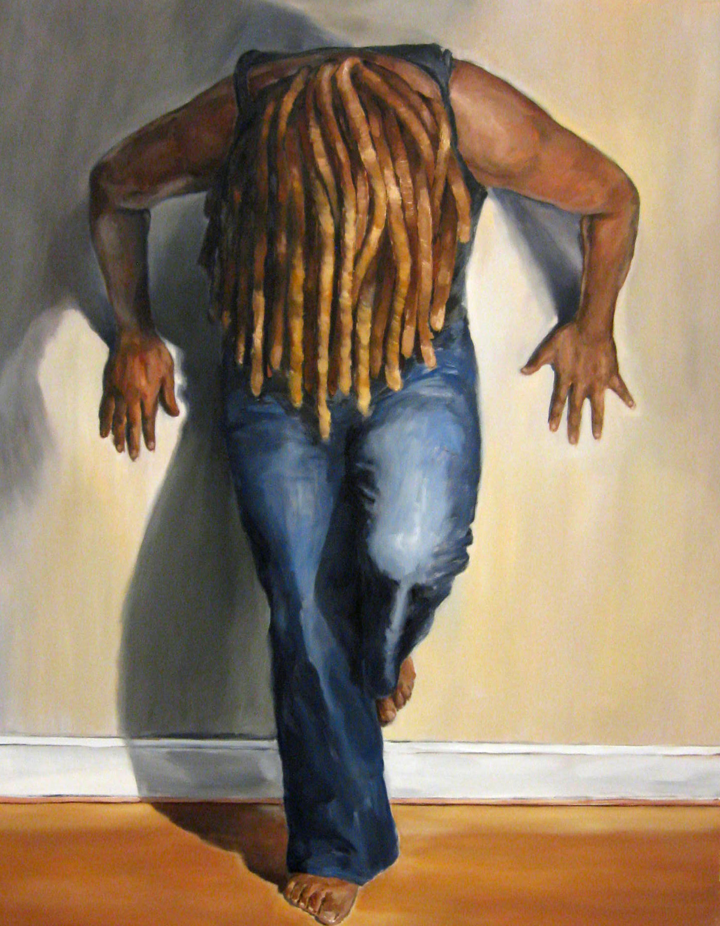 """""""Restrained Dreads"""" by Sandra Charles, Oil on Canvas, 48x60in, 2015, $2750"""