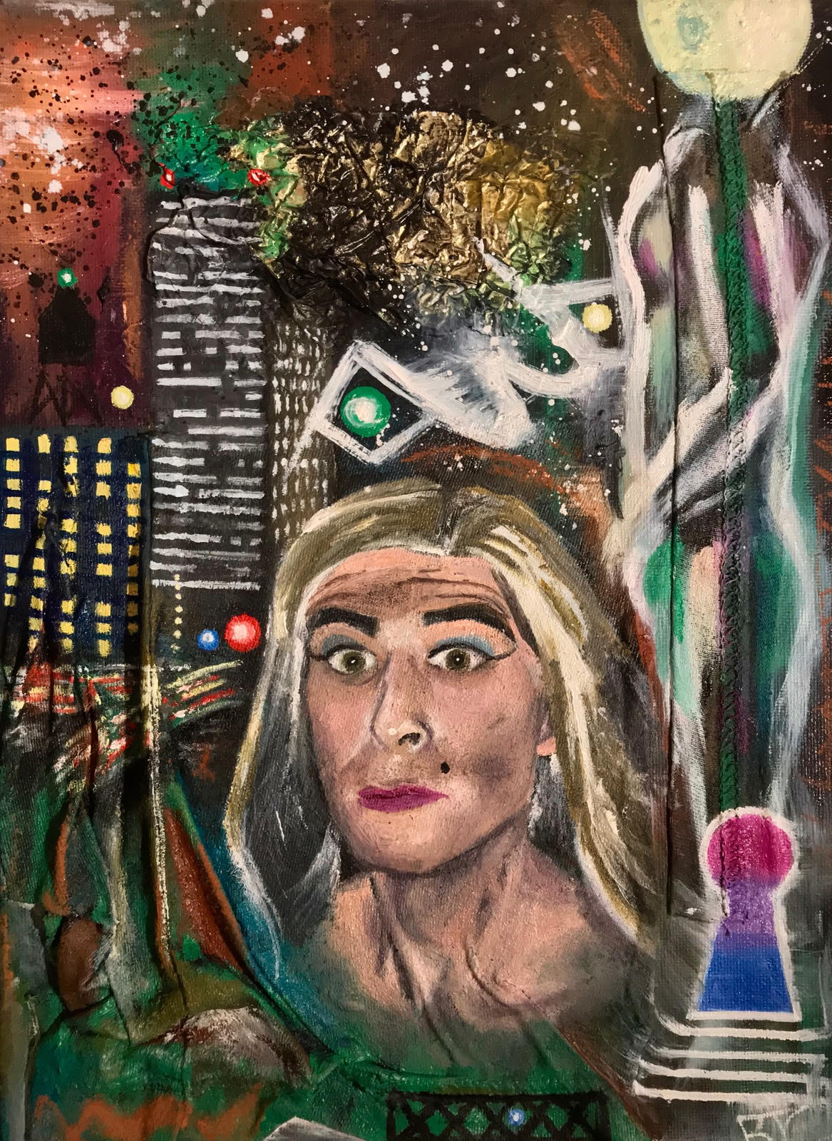 """Nightlife"" by Brennen Cabrera, Mixed Media; Oil, Acrylic, Soft Pastel, Wrapper, and Shirt Scraps on Canvas, 14x11in, 2018, $175"