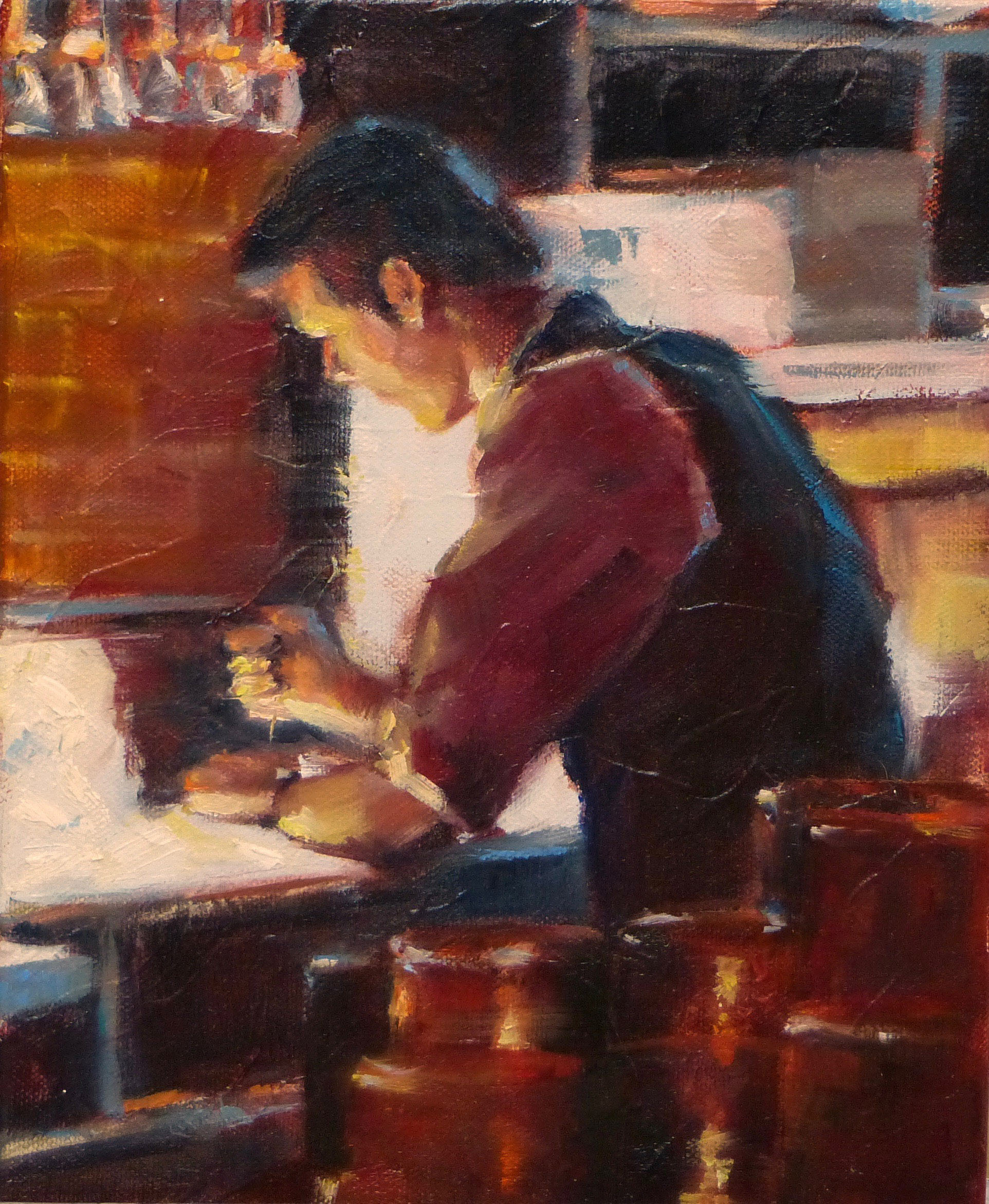 """Bartender Chipping Ice"" by Greta Mattingly, Oil, 10x8in, 2018, $400"