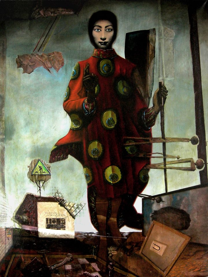 """Stebuklingas Drugelis"" by Hawk Alfredson, Oil over egg tempera/mixed media on canvas, 79x59in, 1994-2005"