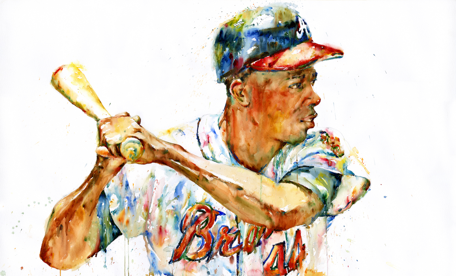 """Hank Aaron"" by Richard Sullivan, Acrylic on panel, 24x36in, 2019, Private collection"