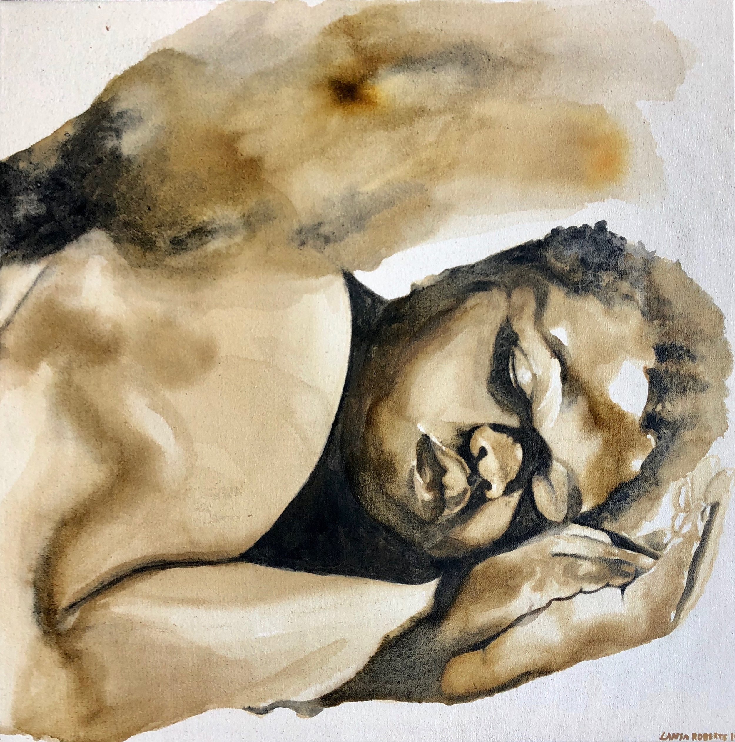 """Still"" by LaNia Roberts, Honey, ink, & charcoal, 24x24in, $900, Available for purchase through Silent Auction at the 2019 Art[squared] Preview Party Fundrasier"