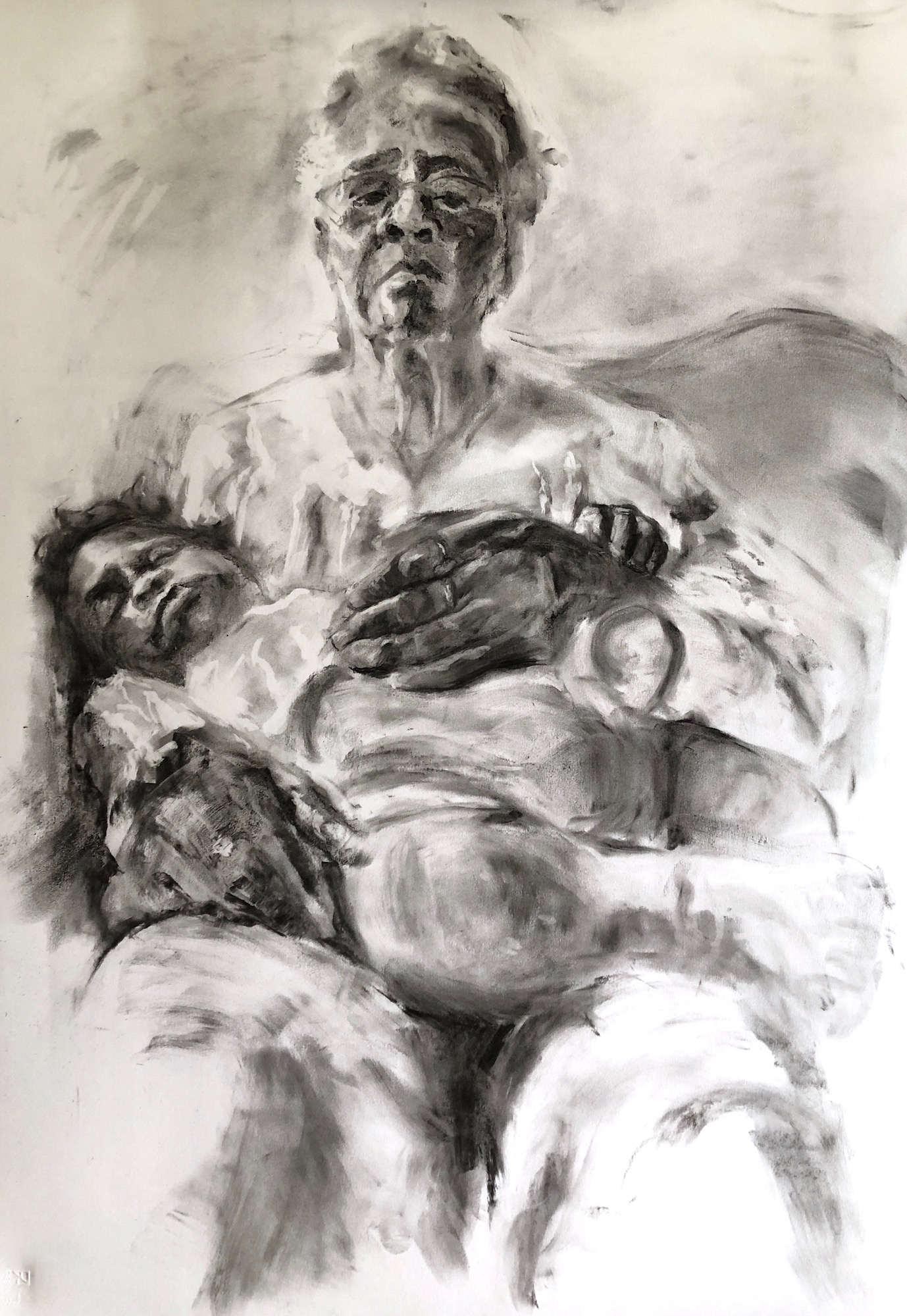 """Grandmama and Lil' Rell Rell"" by LaNia Roberts, Vine Charcoal on Paper , 41x29in, 2019, $800"
