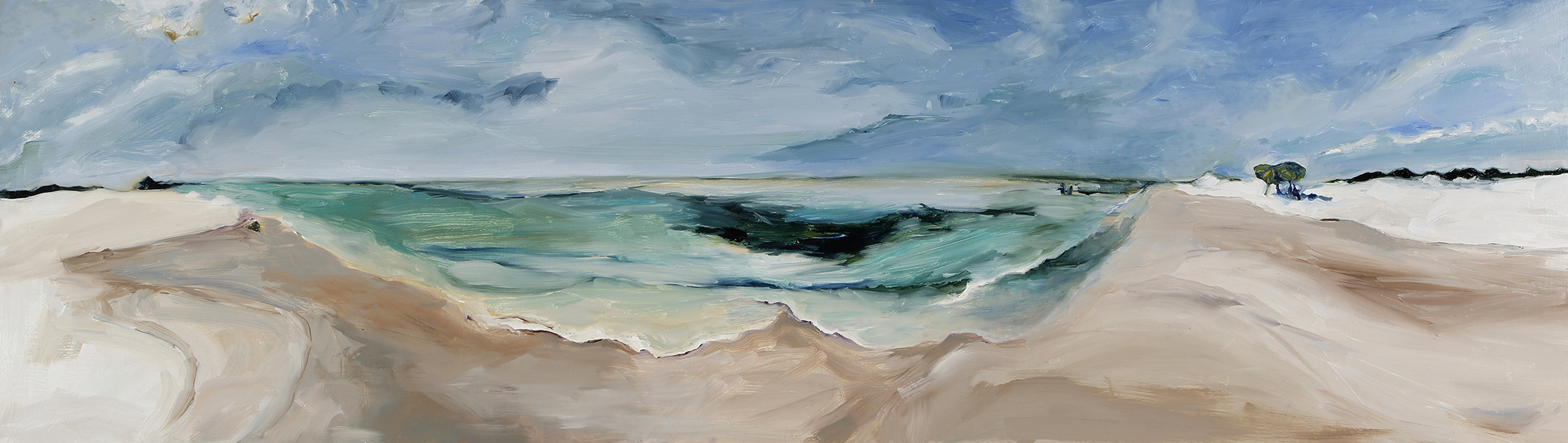 """""""Tide Pull"""" by Sharon Weis, Oil paint on birch plywood, 13x42in, 2019, $1200"""
