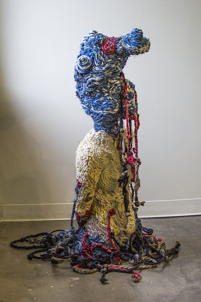 """TheScream"" by Amalia Galdona Broche, Fiber and pins, 40x15x15in, 2018"