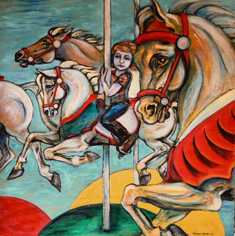 """Carousel Ride"" by Monica Barnett, Acrylic on wood, 48x48in, 2019, $3000"