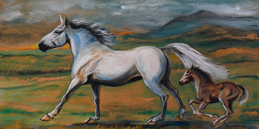 """Mare and Foal"" by Monica Barnett, Acrylic on wood, 48x24in, 2019, $975."