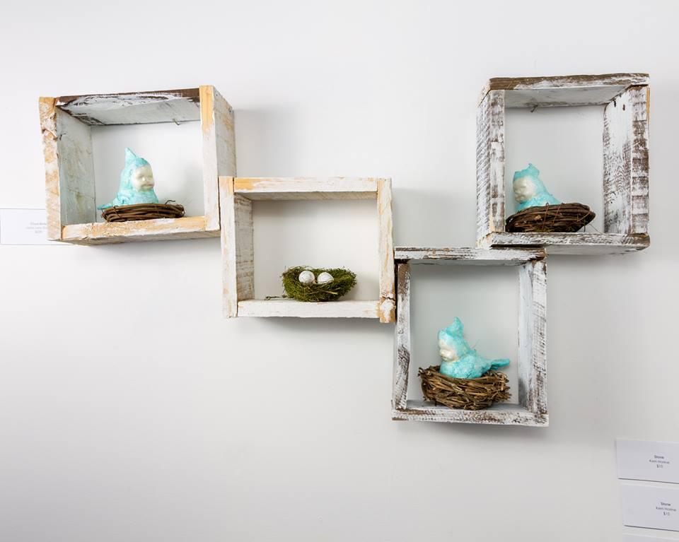 """Cloud Birds"" by Jada Lynn Dixon, Mixed Media, 26x12in, 2019, $350"